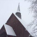 a snowy st. david's church roof